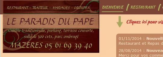 Restaurant Le Paradis du Pape (Mazères - Ariège-Pyrénées - 09) - www.leparadisdupape.com